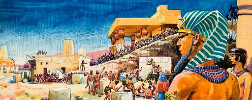 Temple construction in Egypt.  Original artwork for illustration in Look and Learn or The Bible Story (issue yet to be identified).  Lent for scanning by The Gallery of Illustration.