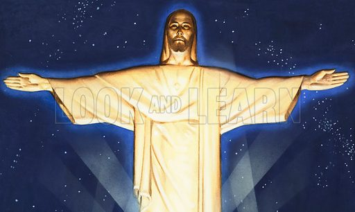 Giant Figure of Christ. 2,300 feet above Rio de Janeiro this giant figure in concrete tops a mountain overlooking the city.  Original artwork for part of cover of The Bible Story issue no 16.  Lent for scanning by The Gallery of Illustration.