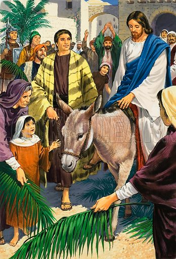 Jesus Christ riding into Jerusalem on Palm Sunday. Scene from the Bible (Luke Chapter 19). The people came from all sides to join them, praising God, waving palm leaves and throwing down their garments to make a kind of carpet. Original artwork for illustration on p11 in Treasure no.117.