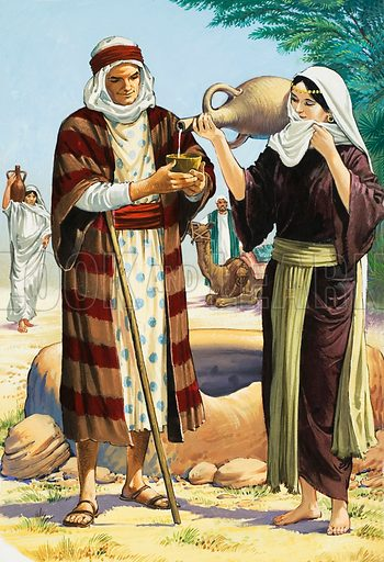 A Wife for Isaac. Genesis Chapter 24. Rebekah lowered the pitcher and poured Abraham's servant a drink. Original artwork for illustration on p11 of Treasure no.63.