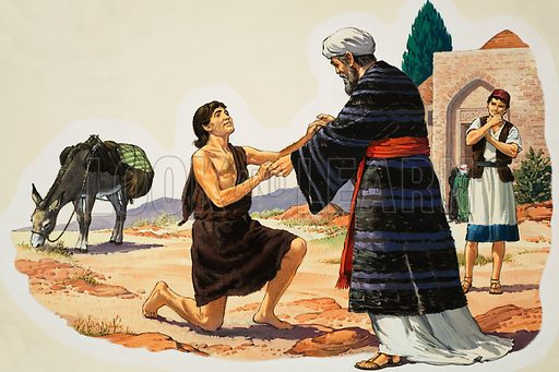Biblical Scene. Original artwork for illustration in Look and Learn or The Bible Story (issue yet to be identified).