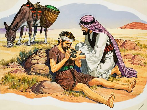 The Good Samaritan (?) Original artwork for illustration in Look and Learn or The Bible Story (issue yet to be identified).