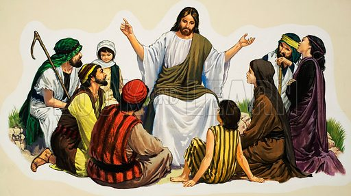 Jesus Christ teaching. Original artwork for illustration in Look and Learn or The Bible Story (issue yet to be identified).