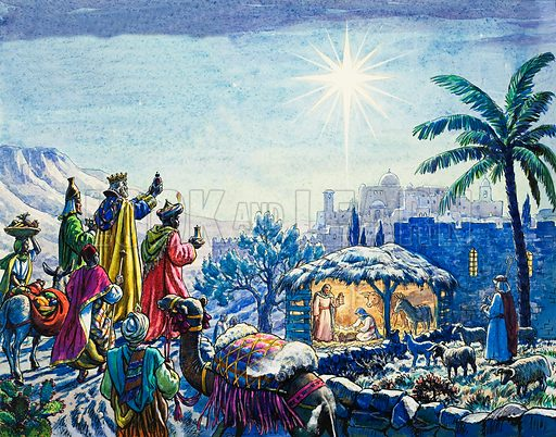 The Three Wise Men arriving at the manger in Bethlehem where Jesus Christ was born. Original artwork for illustration in Look and Learn or The Bible Story (issue yet to be identified).