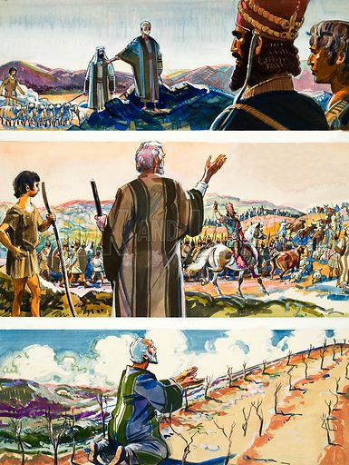 Biblical Scenes. Original artwork for illustration in Look and Learn or The Bible Story (issue yet to be identified).  Lent for scanning by The Gallery of Illustration.