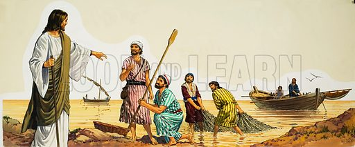 Christ with Fishermen. Original artwork for illustration in Look and Learn or The Bible Story (issue yet to be identified).  Lent for scanning by The Gallery of Illustration.