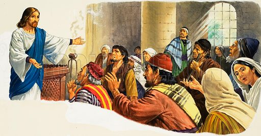Christ Preaching. Original artwork for illustration in Look and Learn or The Bible Story (issue yet to be identified).  Lent for scanning by The Gallery of Illustration.