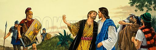 Christ being kissed by Judas Iscariot.  Original artwork for illustration in Look and Learn or The Bible Story (issue yet to be identified).  Lent for scanning by The Gallery of Illustration.
