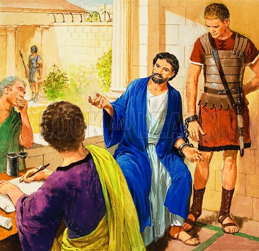 The story of Paul retold, taken from The Acts of the Apostles in The Bible: Rome at last. Original artwork for illustration on p9 of Treasure no.210.