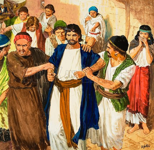 The story of Paul retold, taken from The Acts of the Apostles in The Bible: The Maid of Philippi. Original artwork for illustration on p9 of Treasure no.203.