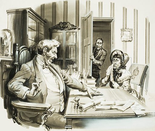 """""""I fear that a duel is going to be fought here,"""" said a distressed Miss Witherfield. """"In Ipswich, ma'am - a duel in Ipswich?"""" the magistrate replied aghast. A scene from The Pickwick Papers by Charles Dickens. Original artwork for the illustration on p23 of L&L no 49 (22 December 1962)."""