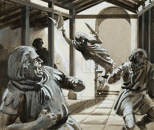 Unidentified scene in which a statue falls over and frightened men run away. Original artwork.