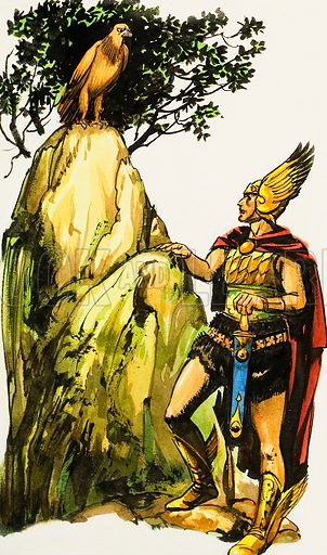 Soldier with Eagle. Original artwork for illustration in The Bible Story (issue yet to be identified).