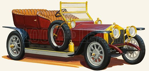 Vintage Motor Car. Original artwork for Look and Learn (issue yet to be identified).