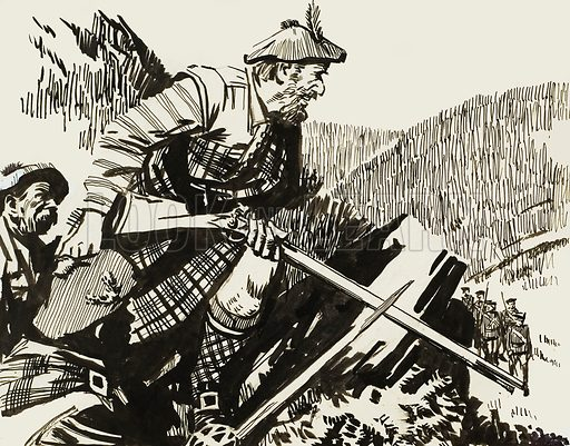 Scottish Bandits. Original artwork for Look and Learn (issue yet to be identified).