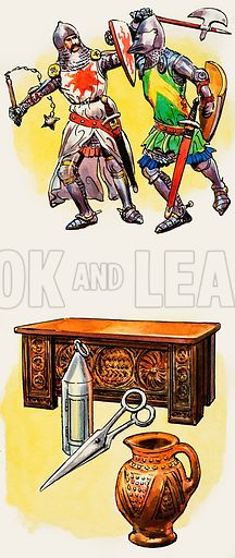 Top: Early 14th Century knights wore mail, but by the end of the century they rode into battle completely protected by heavy plate armour. Each knight wore a surcoat on which was emblazoned his heraldic device. Bottom: Coffer, lantern, fourteenth-century scissors and a jug. Original artwork for illustrations on p4 of L&L issue no.291 (12 August 1967).