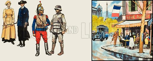 Various French costumes and a cafe scene in Paris. Original artwork.
