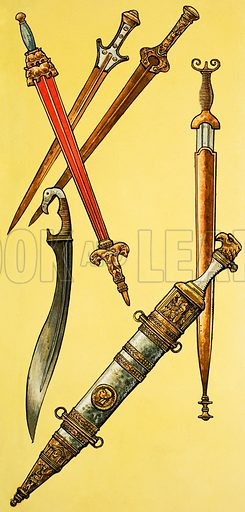 Swords, including Mycenaean, Assyrian, Early Italian, Greek and Roman.  Original artwork for illustration on p8 of Ranger issue of 2 October 1965.  Lent for scanning by The Gallery of Illustration.