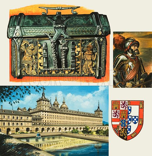 Casket, in the Museum of Leather in London, which may have belonged to Charles V of Spain.  Illustration also shows: The Escorial where Charles V was buried; a portrait of Charles V; and the arms of Charles V and his wife, Isabella of Portugal.  Lent for scanning by The Gallery of Illustration.