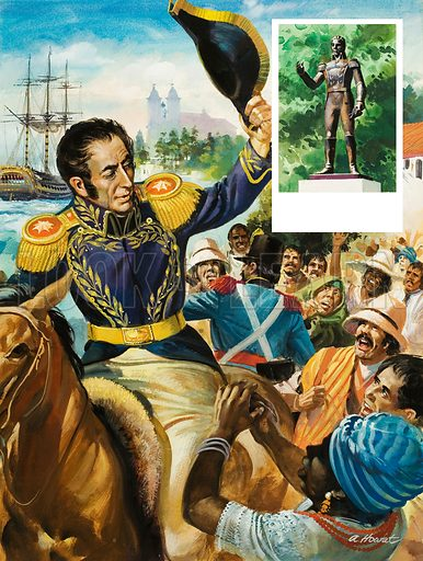 When Simon Bolivar decided to retire from public life in 1830, he made a triumphant journey to the port from where he was to embark for Europe. Inset: A statue of Bolivar in Belgrave Square, London, erected in 1974. Original artwork for illustrations on p29 of L&L no.943 (16 February 1980).