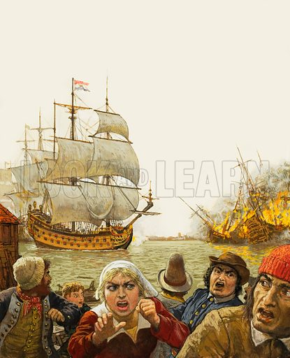 The Dutch sail up the Medway and burn the undefended British fleet. Inset left: Charles II.
