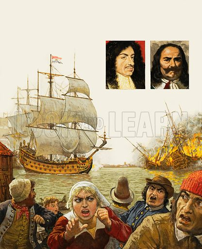 The Dutch sail up the Medway and burn the undefended British fleet. Inset left: Charles II; inset right: Admiral de Ruyter. Original artwork for the illustrations on p2 of L&L no 950 (5 April 1980).