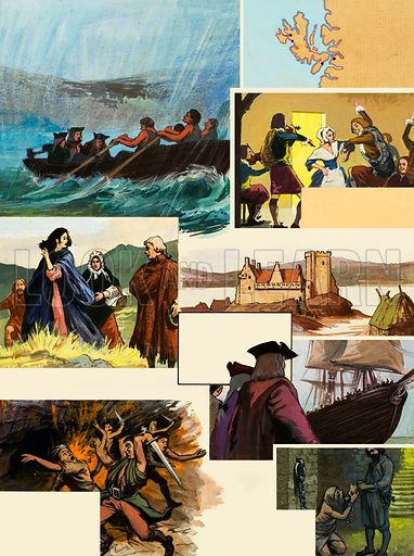 Over the Sea to Skye shows scenes from Dr Johnson's journey through the Western Isles and Highlands with James Boswell. Original artwork for the illustrations on p24 of L&L no.1037 (23 January 1982).