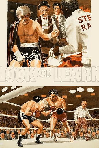 Boxing.  Original artwork for illustration in Look and Learn or Ranger (issue yet to be identified).  Lent for scanning by The Gallery of Illustration.