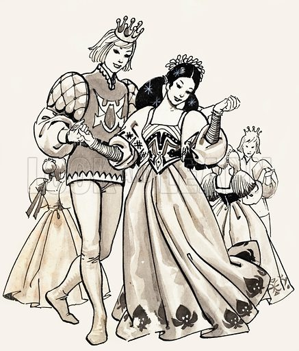 The Twelve Dancing Princesses by the Brothers Grimm. The princesses danced until their shoes were in tatters. Original artwork for the illustration on p11 of Treasure no. 172.