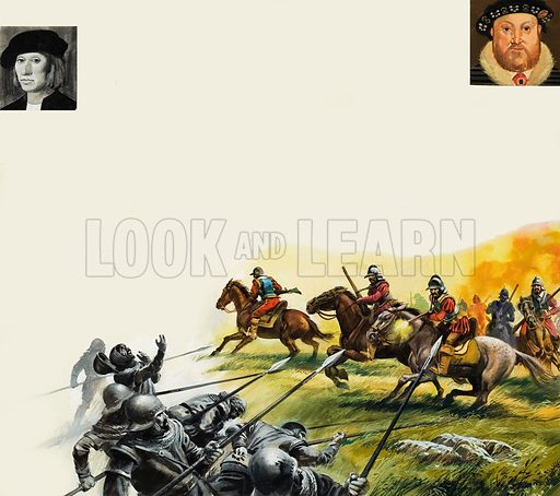 Slaughter on the battlefield of Flodden, when the Scors were cut to pieces by the more disciplined English forces led by the Earl of Surrey. Inset left: James IV of Scotland; right: Henry VIII in middle-age. Original artwork for the illustrations on pp28-29 of L&L no.1001 (16 May 1981).