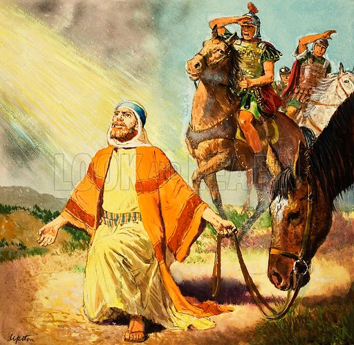 Paul the Apostle seeing the light on the Road to Damascus. Original artwork for the illustration on p9 of Treasure no. 197.