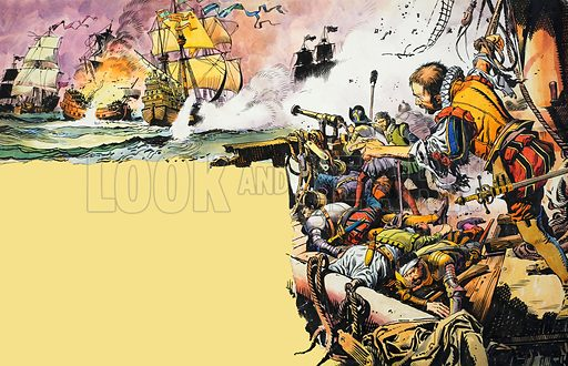 Fifty-three Ships against One!  They were the odds faced by the gallant Sir Richard Grenville.  Grenville grasped the jagged stump of the mizzen-mast and dragged himself to his feet.  And there he stood half-conscious in the sight of his warriors - the symbol of their heroism.  Original artwork for illustration on pp10-11 of Ranger issue of 2 October 1965.  Lent for scanning by The Gallery of Illustration.