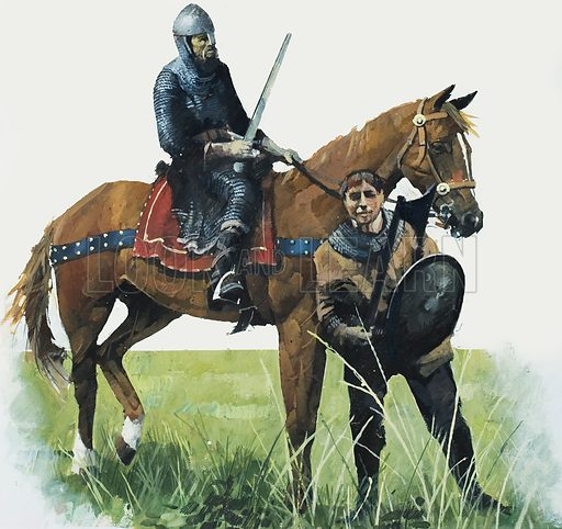 Two soldiers, possibly a Norman knight and his squire. Original artwork.