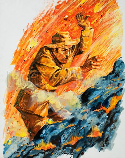Into the fiery furnace. The exploits of Tazieff, eminent Polish geologist. Original artwork for L&L no.1030 (5 December 1981).