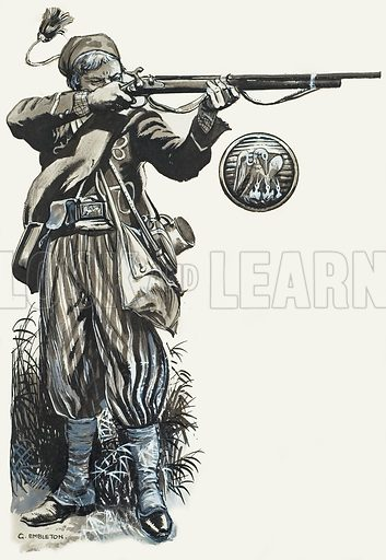 Louisiana Tigers. A soldier of the 1st Special Battalion, Louisiana Infantry, in full uniform. His belt buckle and tunic button (inset) bear the emblem of the State of Louisiana - a pelican feeding its young. Original artwork for illustration on pp of L&L no.140 (19 September 1964).