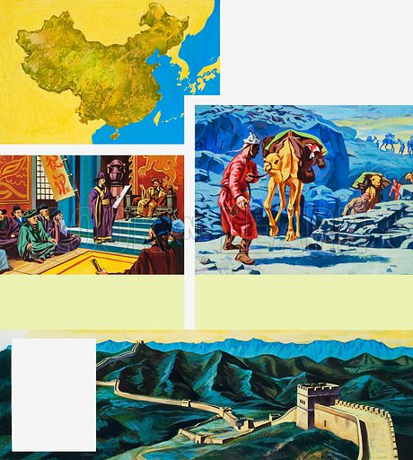 Story of China, including picture of Huang-Ti, the Yellow Emperor, and the Great Wall of China.  Original artwork for illustration on p82 of the World of Wonder Book 1981.  Lent for scanning by The Gallery of Illustration.