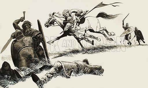 The Field of Senlac, a tale of the Norman invasion by Allen Vanbrugh. Original artwork for the ilustration on p14 of L&L no.241 (27 August 1966).