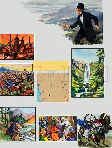 Wild Wales by George Borrow. Rebel Haunts. Vignettes of Borrow's famous travel book showing folklore and historical events. Original artwork for illustrations on p30 of L&L no.1032 (19 December 1981).