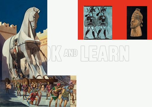 Trojan Horse, together with picture of Mycenaean soldiers and a bust of King Agamemnon. Original artwork for illustrations on pp86–87 of the Look and Learn Book 1975.