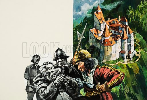 Bran Castle, home to Prince Vlad, whose infamy earned him the Rumanian name Dracul, meaning 'son of the devil'. Original artwork for illustrations on pp28–29 of L&L no.921 (15 September 1979).