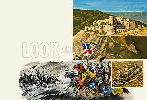 Le Krak des Chevaliers, built to keep the Turks or Saracens out of Christian Europe. Original artwork for the illustrations on pp28-29 of L&L no.920 (8 September 1979).