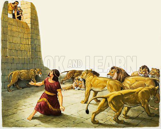 Daniel in the Lion's Den. Original artwork.