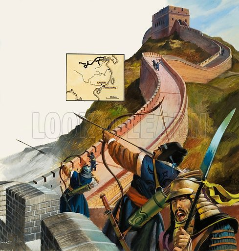 The Great Wall of China. Original artwork for illustration on p7 of L&L no.962 (16 August 1980).