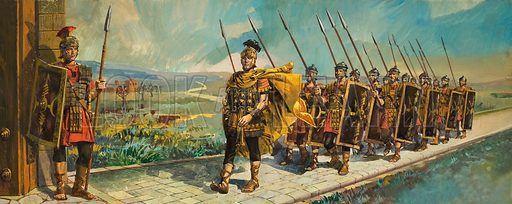 Roman Roads, showing a Roman legion marching on a new road.  Original artwork for illustrations on pp16-17 of Treasure issue no 13.  Lent for scanning by The Gallery of Illustration.