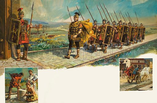 Roman Roads, showing a Roman legion marching on a new road. Original artwork for illustrations on pp16–17 of Treasure issue no 13.