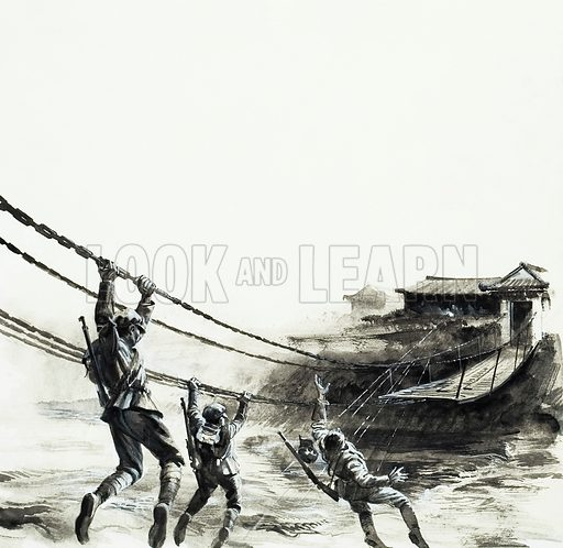 The Battle of Luting Bridge. The fate of the entire Red Army depended on taking this chain bridge across the Tatu. Original artwork for an illustration on p6 of L&L no.968 (27 September 1980).