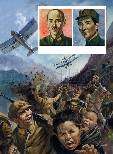The Long March. The Red Army is strafed by Hitler's Luftwaffe. Inset left: Chiang Kai-shek; right: Mao Tse-tung. Original artwork for an illustration on p7 of L&L no.968 (27 September 1980).