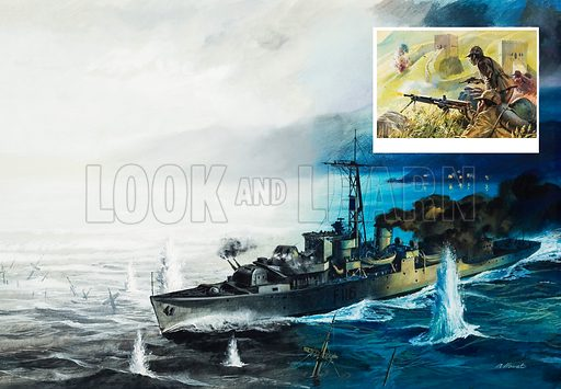 Second World War Naval Bombardment.  Original artwork for Look and Learn (issue yet to be identified).  Lent for scanning by The Gallery of Illustration.