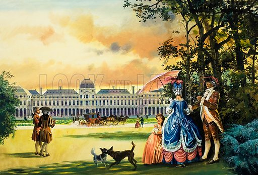 Palace of the Tuileries. Original artwork for illustration on pp8-9 of L&L no. 998 (25 April 1981).
