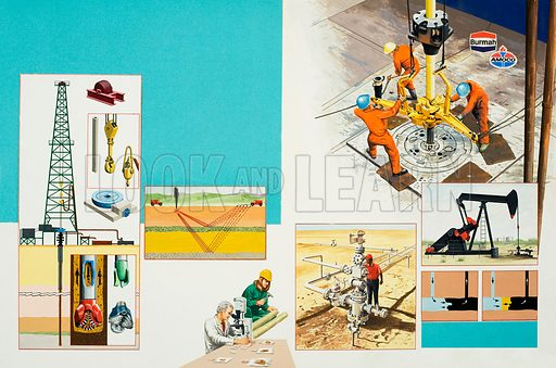 The search for oil, with diagrams, graphs and pictures of machinery and men at work. Original artwork for illustrations on pp16–17 of L&L no.1038 (30 January 1981).